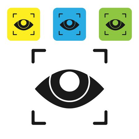 Black Eye scan icon isolated on white background. Scanning eye. Security check symbol. Cyber eye sign. Set icons colorful square buttons. Vector Illustration Çizim