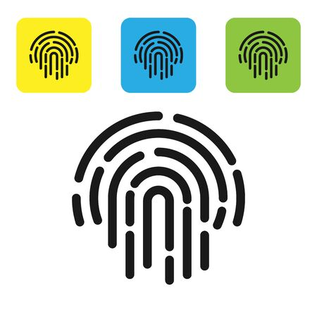 Black Fingerprint icon isolated on white background. ID app icon. Identification sign. Touch id. Set icons colorful square buttons. Vector Illustration