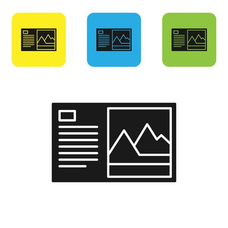 Black Postcard icon isolated on white background. Set icons colorful square buttons. Vector Illustration