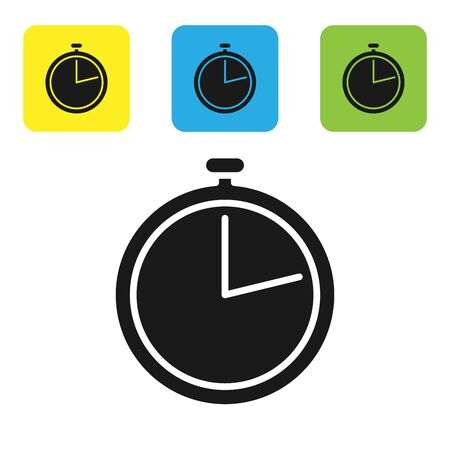 Black Stopwatch icon isolated on white background. Time timer sign. Set icons colorful square buttons. Vector Illustration