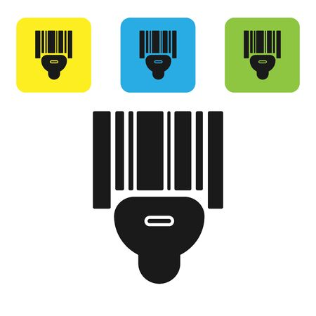 Black Scanner scanning bar code icon isolated on white background. Barcode label sticker. Identification for delivery with bars. Set icons colorful square buttons. Vector Illustration