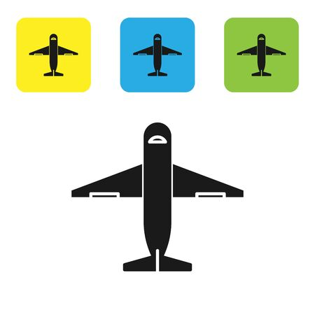 Black Plane icon isolated on white background. Delivery, transportation. Cargo delivery by air. Airplane with parcels, boxes. Set icons colorful square buttons. Vector Illustration Stockfoto - 131547795