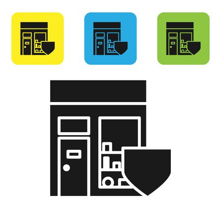 Black Shopping building with shield icon isolated on white background. Insurance concept. Security, safety, protection, protect concept. Set icons colorful square buttons. Vector Illustration Illustration