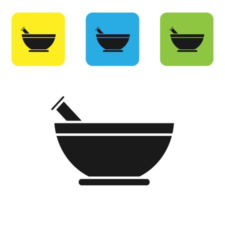 Black Mortar and pestle icon isolated on white background. Set icons colorful square buttons. Vector Illustration