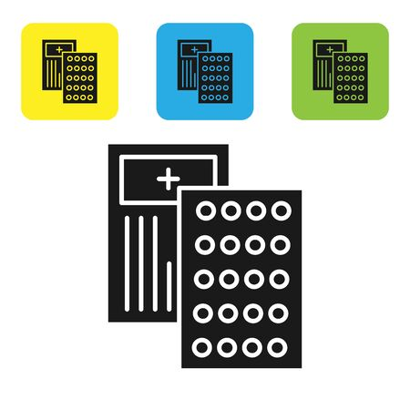 Black Pills in blister pack icon isolated on white background. Medical drug package for tablet, vitamin, antibiotic, aspirin. Set icons colorful square buttons. Vector Illustration