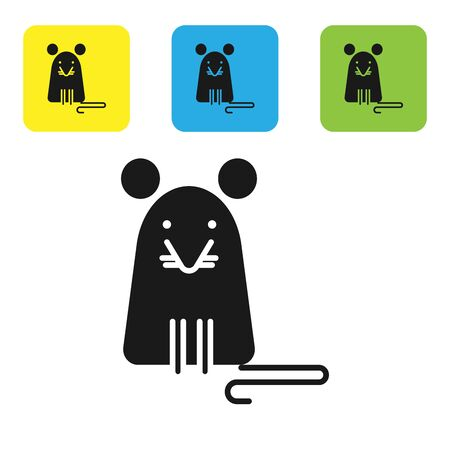Black Rat icon isolated on white background. Mouse sign. Set icons colorful square buttons. Vector Illustration