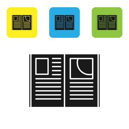Black Open book icon isolated on white background. Set icons colorful square buttons. Vector Illustration