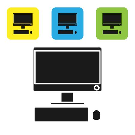 Black Computer monitor with keyboard and mouse icon isolated on white background. PC component sign. Set icons colorful square buttons. Vector Illustration