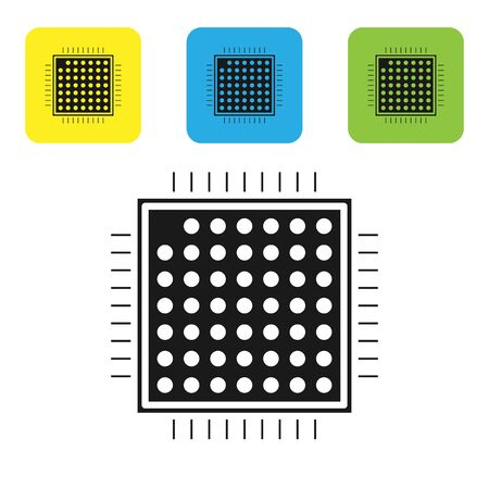 Black Processor icon isolated on white background. CPU, central processing unit, microchip, microcircuit, computer processor, chip. Set icons colorful square buttons. Vector Illustration Çizim