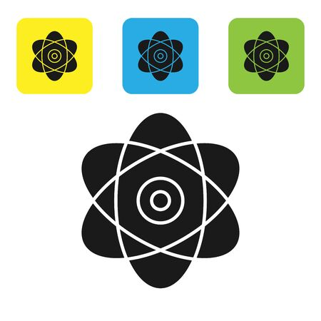 Black Atom icon isolated on white background. Symbol of science, education, nuclear physics, scientific research. Electrons and protons sign. Set icons colorful square buttons. Vector Illustration Иллюстрация
