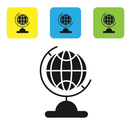 Black Earth globe icon isolated on white background. Set icons colorful square buttons. Vector Illustration Ilustração