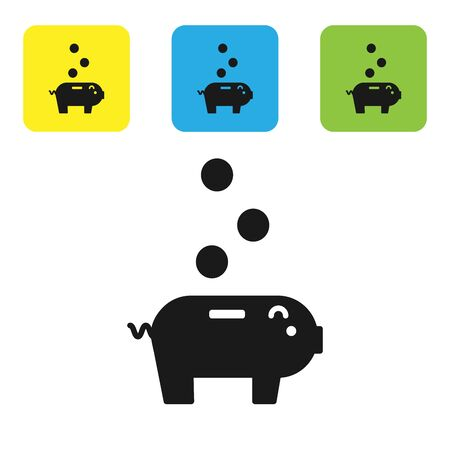 Black Piggy bank with icon isolated on white background. Icon saving or accumulation of money, investment. Set icons colorful square buttons. Vector Illustration Ilustração