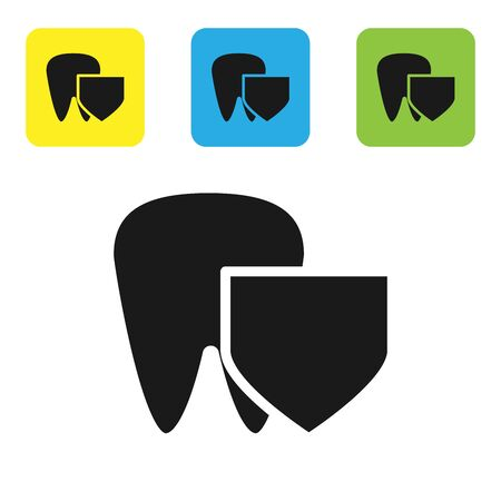 Black Tooth with shield icon isolated on white background. Dental insurance. Security, safety, protection, protect concept. Set icons colorful square buttons. Vector Illustration 向量圖像