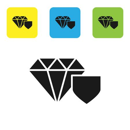 Black Diamond with shield icon isolated on white background. Jewelry insurance concept. Security, safety, protection, protect concept. Set icons colorful square buttons. Vector Illustration