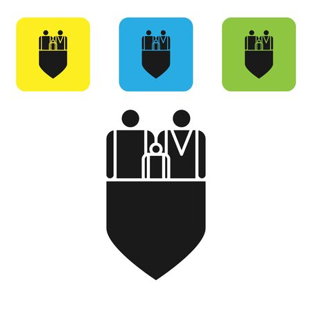 Black Family insurance with shield icon isolated on white background. Security, safety, protection, protect concept. Set icons colorful square buttons. Vector Illustration  イラスト・ベクター素材