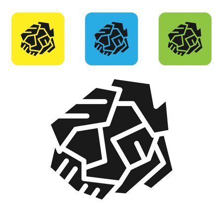 Black Crumpled paper ball icon isolated on white background. Set icons colorful square buttons. Vector Illustration Vettoriali