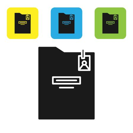 Black Personal folder icon isolated on white background. Set icons colorful square buttons. Vector Illustration