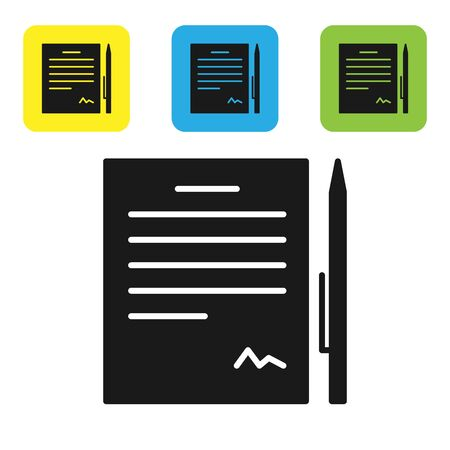 Black Contract with pen icon isolated on white background. File icon. Checklist icon. Business concept. Set icons colorful square buttons. Vector Illustration