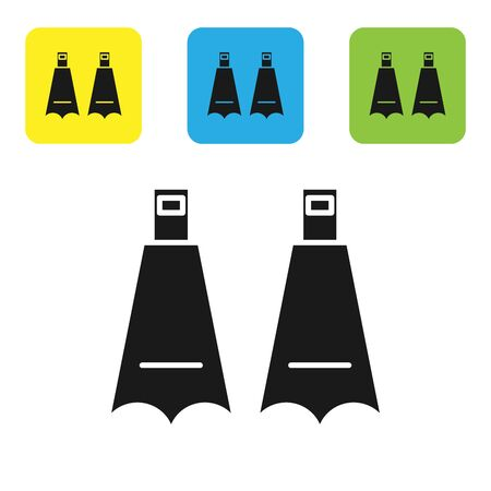 Black Rubber flippers for swimming icon isolated on white background. Diving equipment. Extreme sport. Diving underwater equipment. Set icons colorful square buttons. Vector Illustration