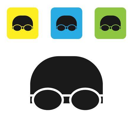 Schwarze Brille und Mütze für das Schwimmen-Symbol isoliert auf weißem Hintergrund. Badekappe und Brille. Tauchen Unterwasserausrüstung. Stellen Sie Ikonen bunte quadratische Knöpfe ein. Vektorillustration