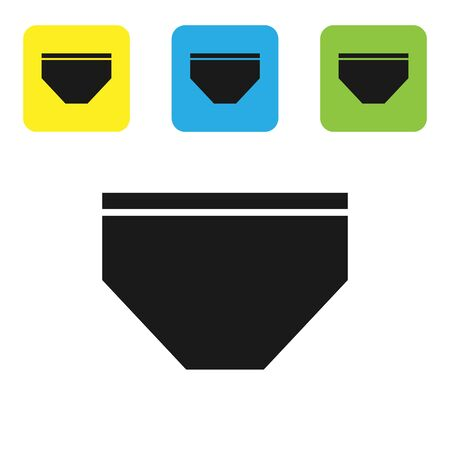 Black Swimming trunks icon isolated on white background. Set icons colorful square buttons. Vector Illustration