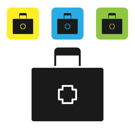 Black First aid kit icon isolated on white background. Medical box with cross. Medical equipment for emergency. Healthcare concept. Set icons colorful square buttons. Vector Illustration