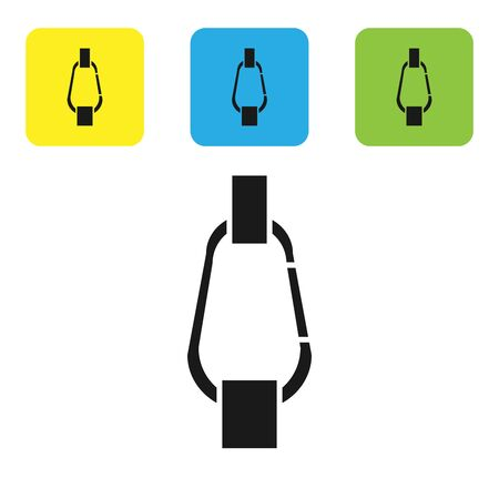 Black Carabiner icon isolated on white background. Extreme sport. Sport equipment. Set icons colorful square buttons. Vector Illustration  イラスト・ベクター素材