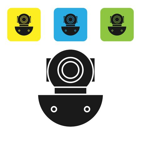 Black Aqualung icon isolated on white background. Diving helmet. Diving underwater equipment. Set icons colorful square buttons. Vector Illustration Illustration