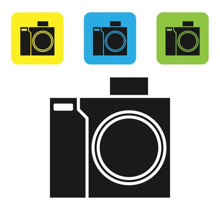 Black Photo camera for diver icon isolated on white background. Foto camera icon. Diving underwater equipment. Set icons colorful square buttons. Vector Illustration