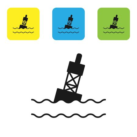 Black Floating buoy on the sea icon isolated on white background. Set icons colorful square buttons. Vector Illustration