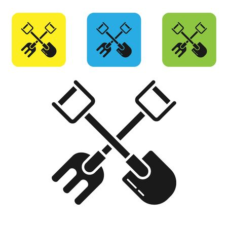 Black Shovel and rake icon isolated on white background. Tool for horticulture, agriculture, gardening, farming. Ground cultivator. Set icons colorful square buttons. Vector Illustration