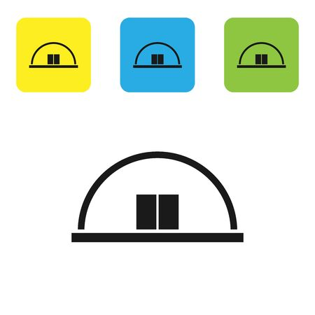 Black Hangar icon isolated on white background. Set icons colorful square buttons. Vector Illustration Çizim
