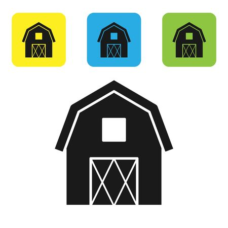 Black Farm House concept icon isolated on white background. Rustic farm landscape. Set icons colorful square buttons. Vector Illustration