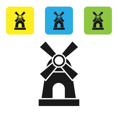 Black Windmill icon isolated on white background. Set icons colorful square buttons. Vector Illustration