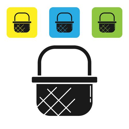 Black Shopping basket icon isolated on white background. Online buying concept. Delivery service sign. Shopping cart symbol. Set icons colorful square buttons. Vector Illustration Ilustração