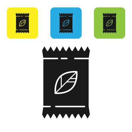Black A pack full of seeds of a specific plant icon isolated on white background. Set icons colorful square buttons. Vector Illustration