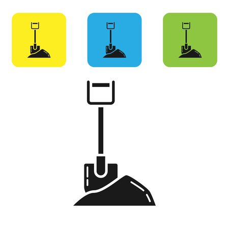 Black Shovel in the ground icon isolated on white background. Gardening tool. Tool for horticulture, agriculture, farming. Set icons colorful square buttons. Vector Illustration