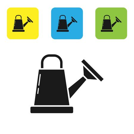 Black Watering can icon isolated on white background. Irrigation symbol. Set icons colorful square buttons. Vector Illustration Ilustracja