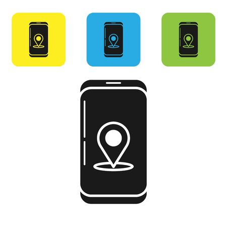Black Infographic of city map navigation icon isolated on white background. Mobile App Interface concept design. Geolacation concept. Set icons colorful square buttons. Vector Illustration Ilustracja