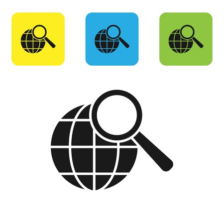Black Magnifying glass with globe icon isolated on white background. Analyzing the world. Global search sign. Set icons colorful square buttons. Vector Illustration Ilustracja