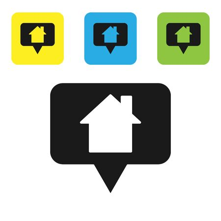 Black Map pointer with house icon isolated on white background. Home location marker symbol. Set icons colorful square buttons. Vector Illustration Ilustracja