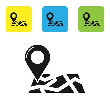 Black Folded map with location marker icon isolated on white background. Set icons colorful square buttons. Vector Illustration