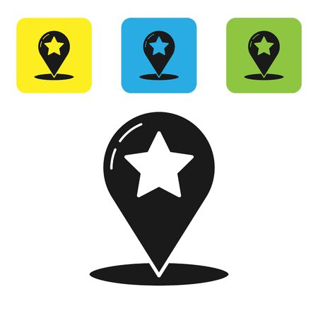 Black Map pointer with star icon isolated on white background. Star favorite pin map icon. Map markers. Set icons colorful square buttons. Vector Illustration