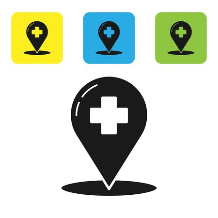 Black Medical map pointer with cross hospital icon isolated on white background. Set icons colorful square buttons. Vector Illustration