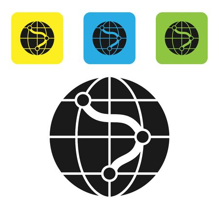 Black Location on the globe icon isolated on white background. World or Earth sign. Set icons colorful square buttons. Vector Illustration