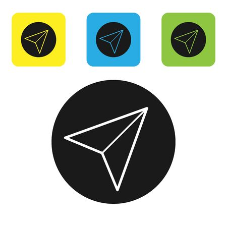 Black Paper airplane icon isolated on white background. Set icons colorful square buttons. Vector Illustration