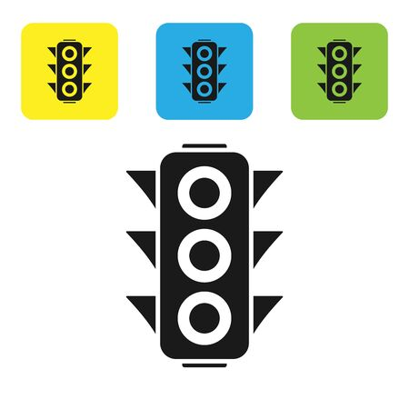 Black Traffic light icon isolated on white background. Set icons colorful square buttons. Vector Illustration Ilustracja