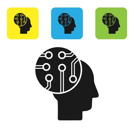 Black Human brain as digital circuit board icon isolated on white background. Human head outline with circuit lines inside. Set icons colorful square buttons. Vector Illustration