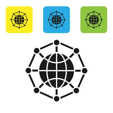 Black Global technology or social network icon isolated on white background. Set icons colorful square buttons. Vector Illustration