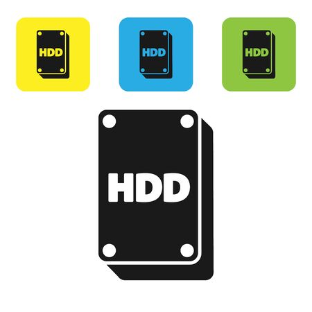 Black Hard disk drive HDD icon isolated on white background. Set icons colorful square buttons. Vector Illustration Illustration